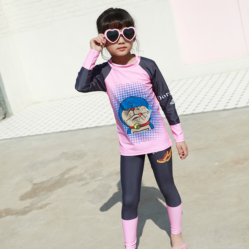 59516569cc3ca 2018 Hot sale baby girls two piece swimwear high quality sunproof beachwear 4XL  plus size swimsuit long sleeve surfing suit -in Children s Two-Piece Suits  ...
