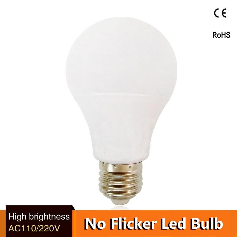Top quality lamp led bulb e27 lampa B22 3w 5w 7w 9w 12w 15w for 110v 127v 220v 230v Energy Saving Home Lighting aluminum cooling e cap aluminum 16v 22 2200uf electrolytic capacitors pack for diy project white 9 x 10 pcs