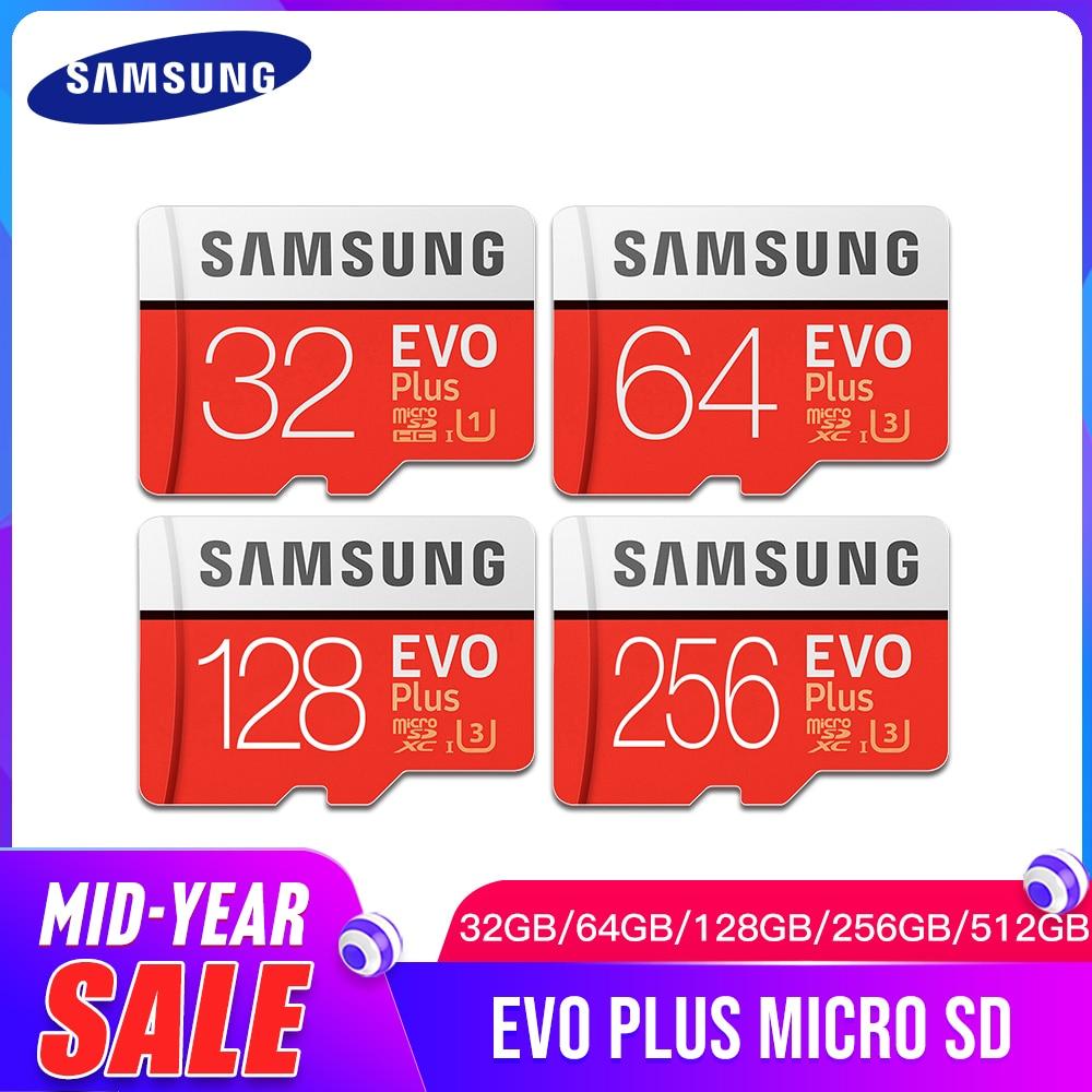 SAMSUNG EVO Plus Class10 Memory Card Micro SD 32GB 64GB 128GB 256GB 512GB Waterproof TF Memoria Sim Card For Smart Phones Camera