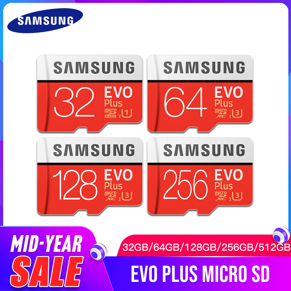 SAMSUNG EVO Plus Class10 Memory Card Micro SD 32GB 64GB 128GB 256GB 512GB Waterproof TF Memoria Sim Card For Smart Phones Camera