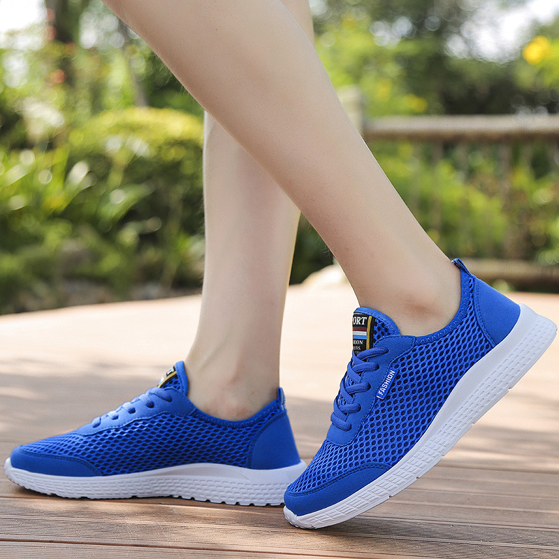 Купить с кэшбэком ZYYZYM Men Shoes Summer Fashion Sneakers Breathable Mesh Casual Shoes Couple Lover Lace up Mens Mesh Shoes Big Plus Size Shoes