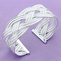 Wholesale 925 jewelry silver plated bangle bracelet, 925 jewelry silver plated fashion jewelry, Big Weaved Bangle B017