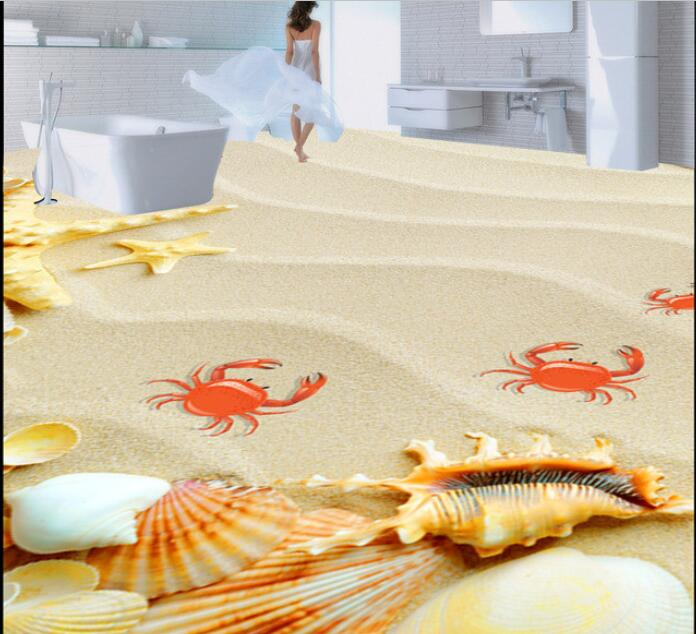 3d PVC flooring custom waterproof 3 d waves shells on the beach sea star 3 d bathroom flooring photo 3d wall murals wallpaper 3d wallpaper custom 3d flooring painting wallpaper bottom of the sea bathroom floor tile 3 d art wall 3d living room decoration