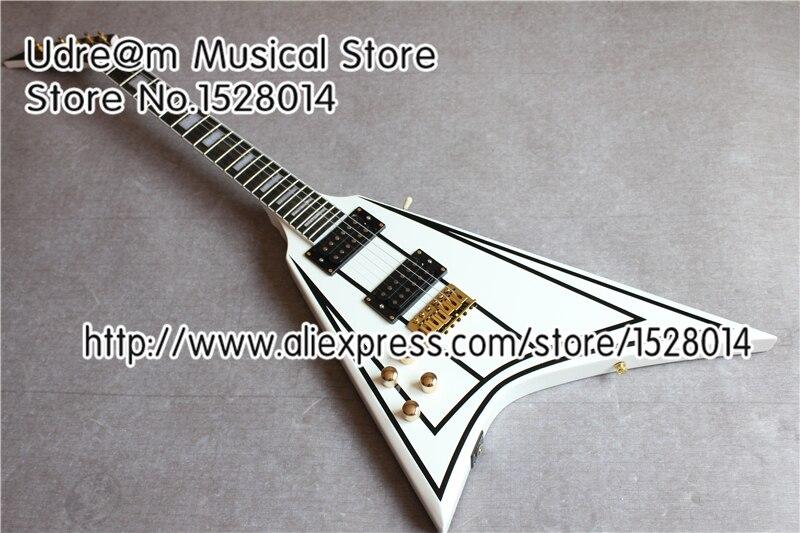 Magasin personnalisé gaucher Jackson volant V Suneye guitares électriques or matériel guitare chine livraison gratuite