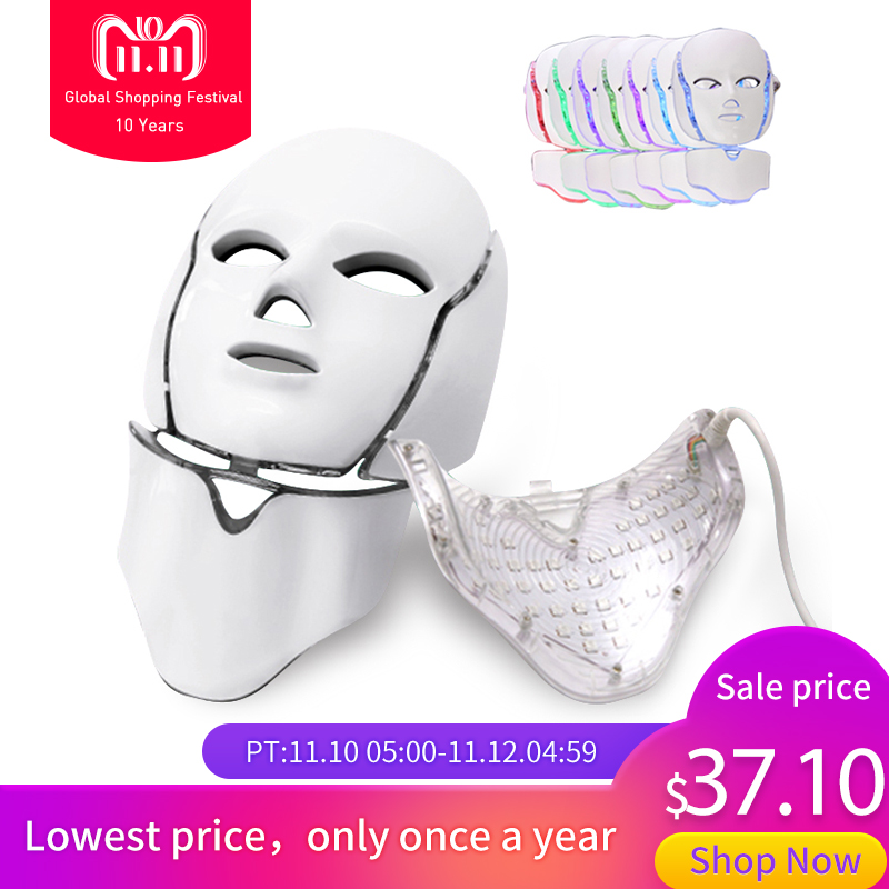 LED 7 Color Light Photon Facial Mask Skin Care Rejuvenation Beauty Instrument Anti Acne Wrinkle Face Mask Neck Whitening Therapy new 3 color led light therapy face mask skin care photon rejuvenation acne remover beauty face skin care tools red green blue