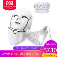 LED 7 Color Light Photon Facial Mask Skin Care Rejuvenation Beauty Instrument Anti Acne Wrinkle Face Mask Neck Whitening Therapy