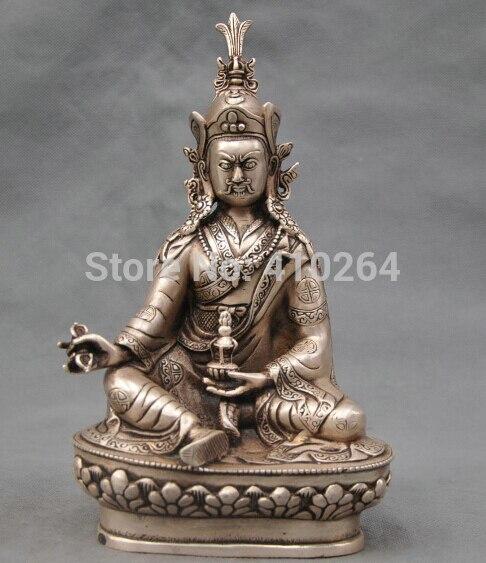 10 China Silver Bronze Buddhism padmasambhava Buddha Bronze Statue10 China Silver Bronze Buddhism padmasambhava Buddha Bronze Statue