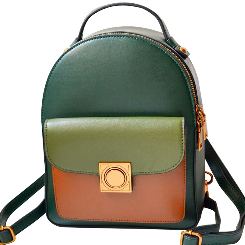 Z02728 New Fashion All Match Top Layer Leather Shoulder Bag Zipper buckle Cowhide Leather Bag Ladies Backpack