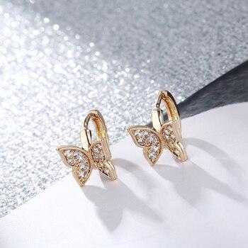 ¡Novedad! CARSINEL de mariposa de pendientes, pendientes de aros de circón cúbico de cobre dorado para mujer, pendientes de mariposa ER0537
