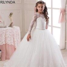 Недорогие Белые Платья с цветочным узором для девочек для свадебного торжества, кружевное платье с рукавами-крылышками и бантом для девочек на день рождения пышное платье из тюля на молнии