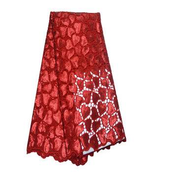 French Lace Fabric African Embroidered Red Sequin Lace Fabric New Style Sequins Mesh Voile Net Lace For Wedding Dress H817-2