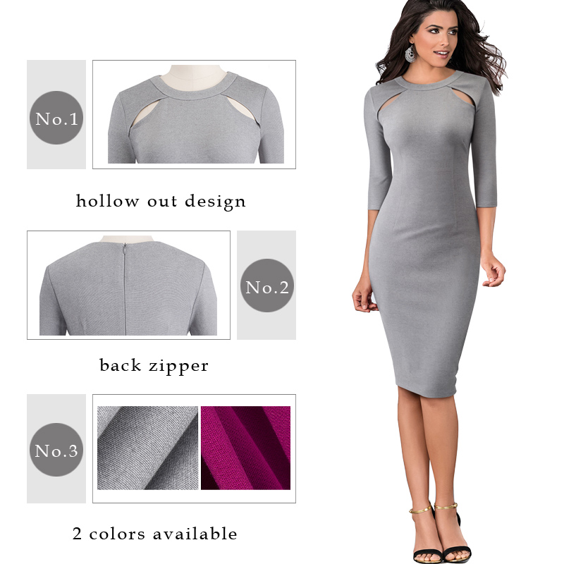 Party Or Work Hollow Out Round Neck Dress
