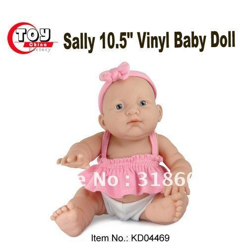 """Sally 10.5"""" Vinyl Expression Girl Baby Doll in Pink Shirt"""
