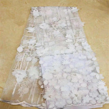 White color Latest  French Lace Fabric 3D Flowers African High Quality NigerianLace For Wedding HX1278-1