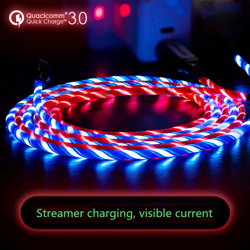 Datenkabel Qualifiziert 1 Mt Leucht 3,0 Quick Charge Kabel Micro Usb Kabel Led Fließende Visible Light Up Android Usb Kabel Für Iphone Xiaomi Huawei