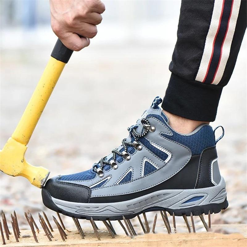 Güvenlik ve Koruma'ten Güvenlik Ayakkabıları'de Erkek güvenlik ayakkabıları iş ayakkabısı adam iş çizmeleri çelik burun ayakkabı Anti delinme dayanıklı açık inşaat güvenlik spor ayakkabı adam için title=