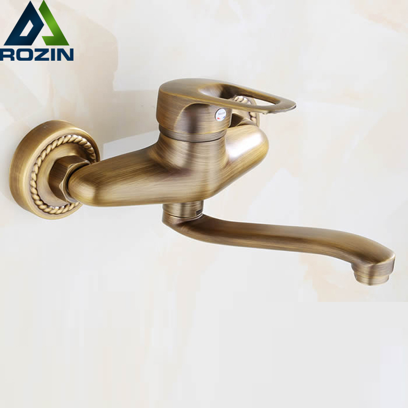 Antique Brass Long Spout Kitchen Faucet Single Handle Dual Hole Wall Mounted Bathroom Kitchen Sink Tap Hot and Cold Water good quality wall mounted dual handle kitchen sink faucet antique brass hot and cold water swivel spout mixer tap