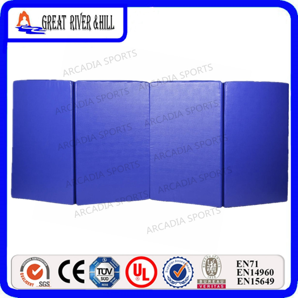 Cheap Gym Gymnastics mats 4 Folding Pure Color Gym Mat 2.4mx1.2mx3cm economic newly design 2 4mx1 2mx3cm cheap gymnastic mats