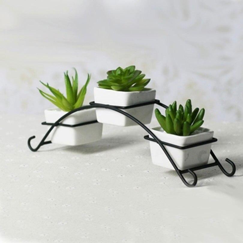 Ceramic Flower Pots Home Decoration Desktop Art Decor Iron Stand Flower Pots Planters Simple