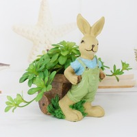 Dad Easter Bunny Figurine Home Decor DIY Succulent Plants Rabbit Family Bonsai Pot Fathers Day Gift Home Decoration Accessories