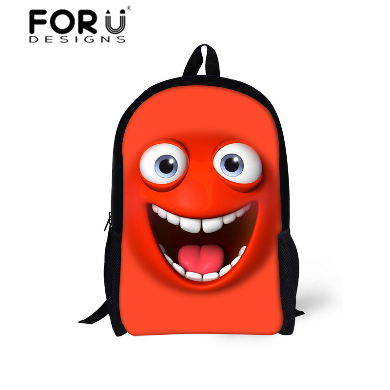 Emoji Face Printing Backpack for Small Child Boys&Girls,Fashion Shoulder School Bags for 6-13 Year Old Student,Mochila Bags 2016