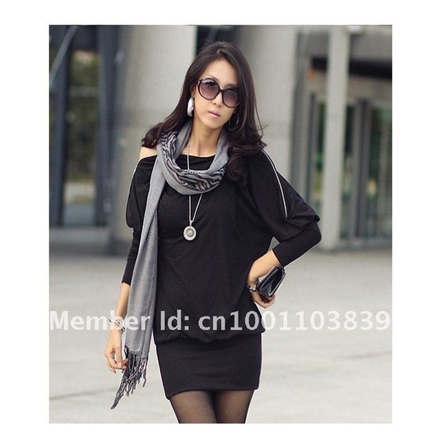 New  Sexy Fashion Women's Batwing Dolman Sleeve Zip Loose Casual Party Mini Dress Top Black