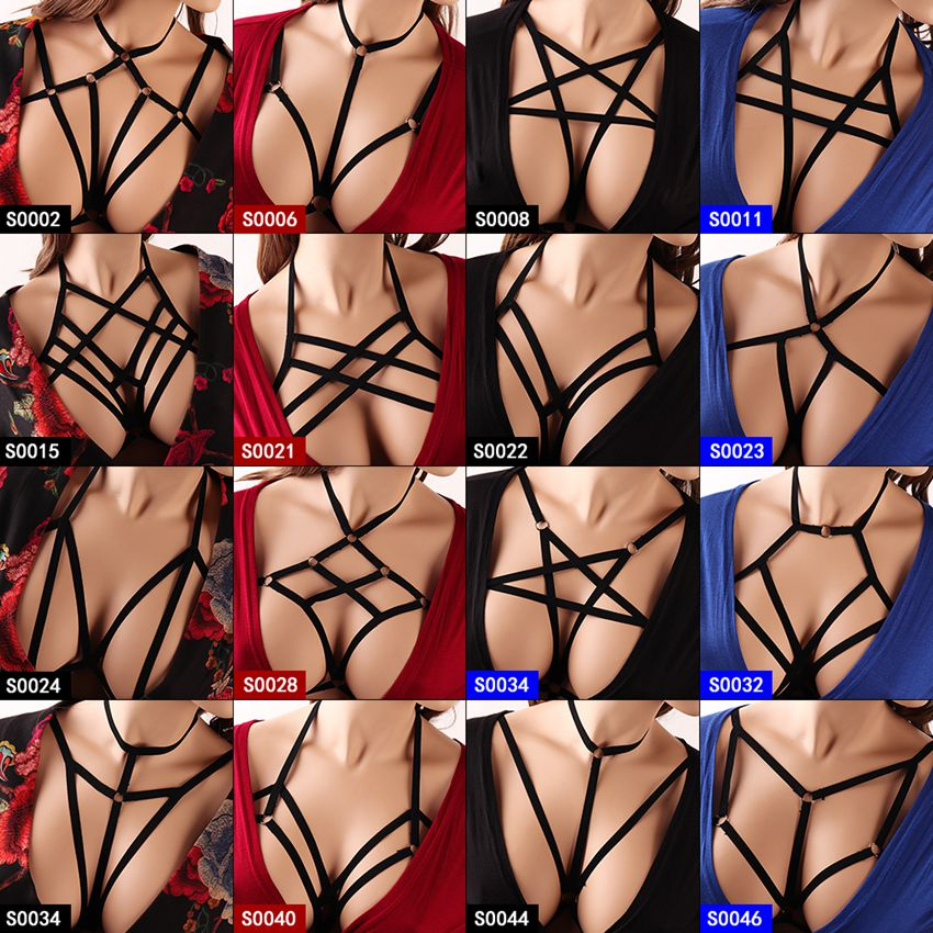 Strappy Pentagram Harness Bra For Women Sexy Crop Top Body Cage Bralette Punk Goth Fetish Bondage Plus Size Festival Rave Garter