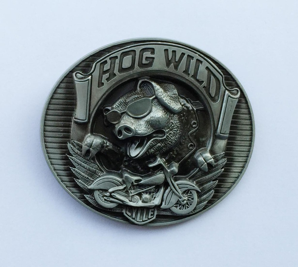 Hog Wild Pig Belt Buckle Motor Engine Belt Buckle
