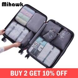 Mihawk Conjuntos De Sacos De Viagem À Prova D' Água Cubo Embalagem Portátil Roupas Classificando Organizador Tidy Bolsa Tote Bagagem Sistema Durável Material