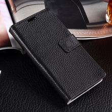 Luxury Genuine Leather Wallet Case for LG K8 5.0″ Litchi Pattern Flip Phone Cover Card Slots Photo Frame