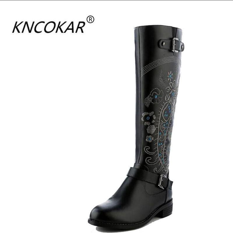 2018winter boots low heeled round toe genuine leather tall boots national trend embroidered boots high boots