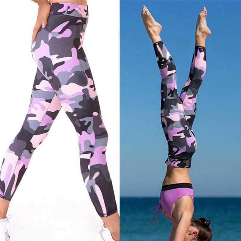 Fashion Women Colorful Printed Stitching Mesh Compression Pants Casual Tights Workout Pants