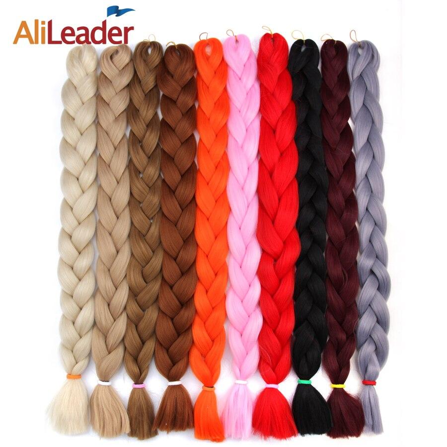 AliLeader 100pcs/lot Kanekalon Crochet Braids Hair Extension Blue Purple Red Pure Color Xpressions Braiding Hair Jumbo Afro Hair