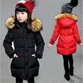 6 roupas da menina da criança 7 inverno amassado casaco outerwear criança 8 algodão-acolchoado jaqueta espessamento médio-longo 9 algodão-acolchoado