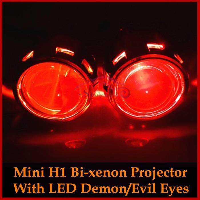 ФОТО Car Motorcycle Styling 2.5 inches MH1 HID Bixenon Headlight Projector Lens Light LHD/RHD H7 H4 Retrofit+ LED Devil Demon Eyes