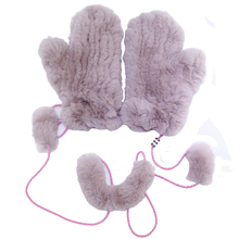 MIARA.L Winter thickening rabbit hair knitted gloves real fur mittens Lovely super soft for ladies wholesale