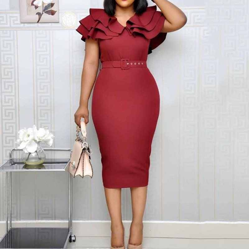 Mid-Calf Falbala Short Sleeve Pullover Plain Dress Party Office Women Summer Ruffle Elegant Bodycon midi Dress Big Size 3XL 2019