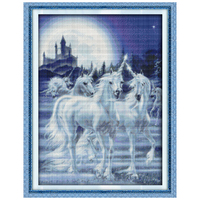 Free Shipping Unicorn Counted Cross Stitch 11CT 14CT DMC Animal Cross Stitch Sets DIY Cross Stitch