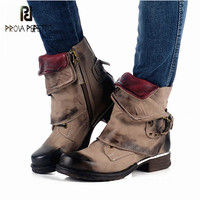 Prova Perfetto Genuine Leather Ankle Boots for Women Retro Platform Flat Boots Buckle Decor Short Botas Mujer Martin Booties