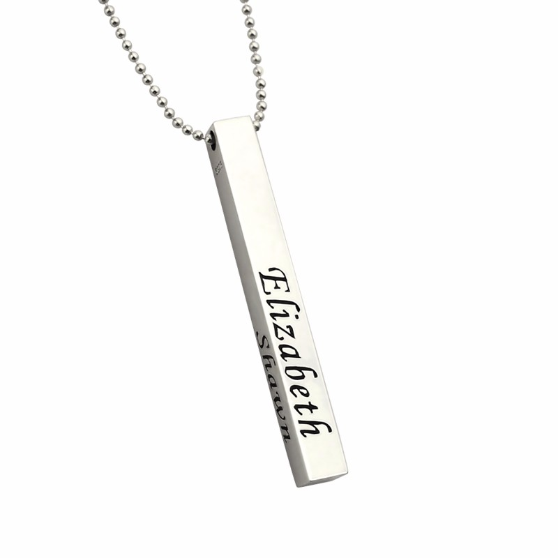 все цены на Custom Letter Bar Necklace Men Personalized 4-sided Family Name Necklaces Sterling Silver Pendant Jewelry Gift for Father Dad онлайн