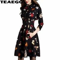 TEAEGG Black Floral Dress Hot Sale 2019 Spring Autumn Russian Style Print Ladies Dresses Mini Elegant Dress Women VestidosAL730