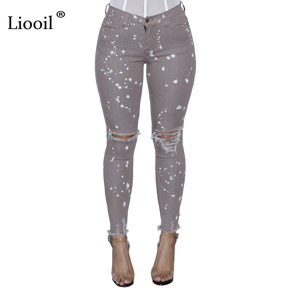 Liooil Dot Print Ripped Jeans For Women New Mid Waist Hole Hollow Out Jeans Woman Sexy Skinny Pants Denim Bodyfriend Jeans