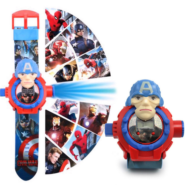 N003 Spiderman  Ironman Captain America Electronic Projection Students Kids Watches Table  Children Watch