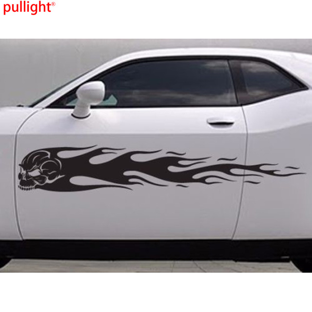 Large skull flames car body vinyl sticker decals 2 pieces