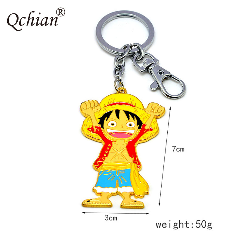 One Piece Ace Luffy Metal Automobiles Keychain And Bag Pendant Jewelry Keyring Beautiful Gift