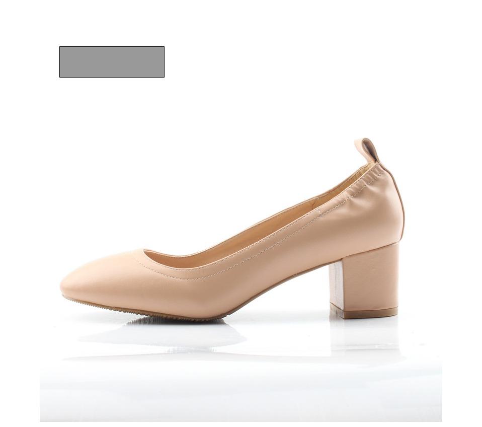 Shoes Women Genuine Leather Fashion Office and Career Rounded Toe 2-inch Block Heel Fashion Office Lady Pumps Size 34-41, K-307 39