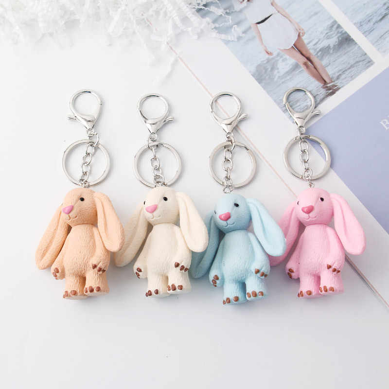 2019 New Cute Pluff Bunny Keychain Rex Genuine Rabbit Fur Key Chains For Women Bag Toys Doll Fluffy Pom Pom Lovely Pompom