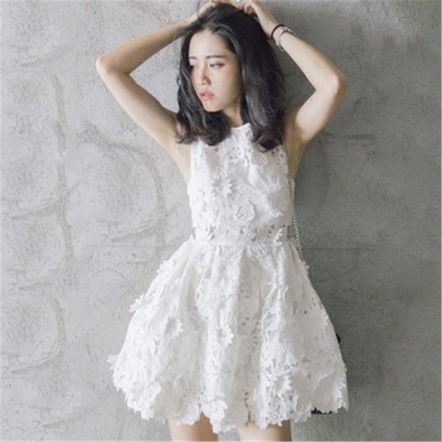 f7ab7802f9a Summer Sweet Lace Tutu Dress 2018 Women Japanese Elegant Floral Embroidery  Evening Party Dresses Korean Ladies Sexy White Dress
