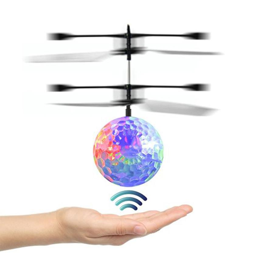 7PCS Hot Toys LED Flashing Light Induction Fly Ball Toys Remote Control RC Helicopter Flying Quadcopter Drone Kids Toy