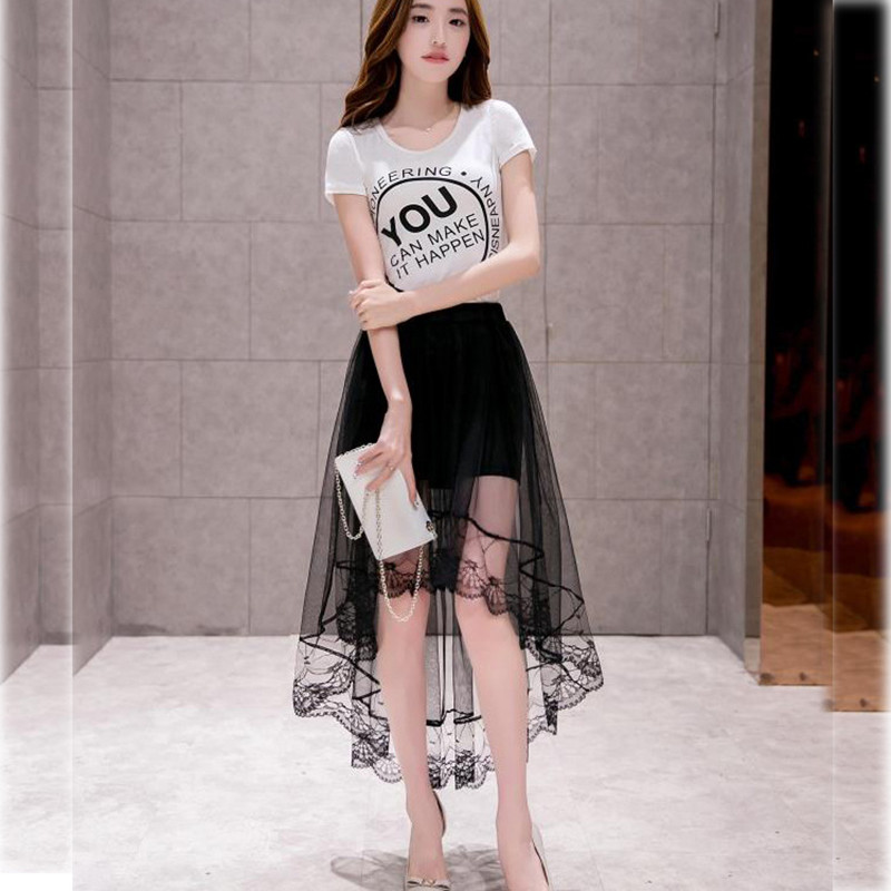 1deea3236a 2016 Women Black   White Sexy Lace Tulle Skirts Fashion Asymmetrical Jupe  Skirts Summer Maxi Skirt